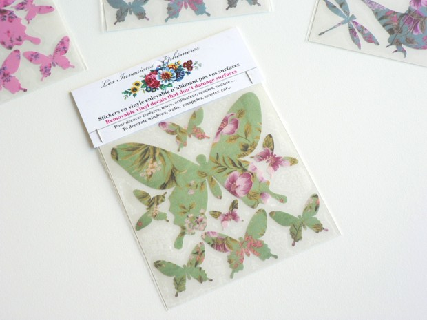 Stickers papillons liberty verts (x8)