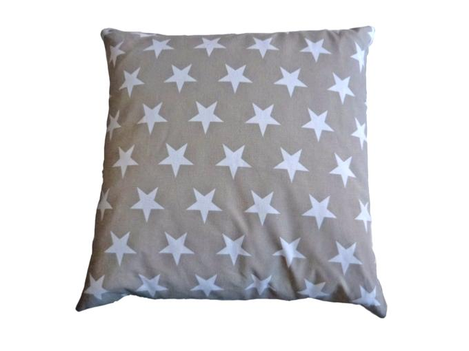 Coussin Taupe Etoiles Blanches 50x50 cm