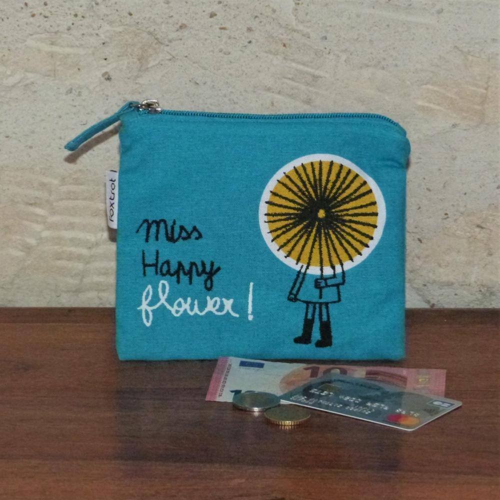 sélectionner pour véritable beaucoup à la mode promotion spéciale Porte-Monnaie Miss Happy Flower Bleu 100drine