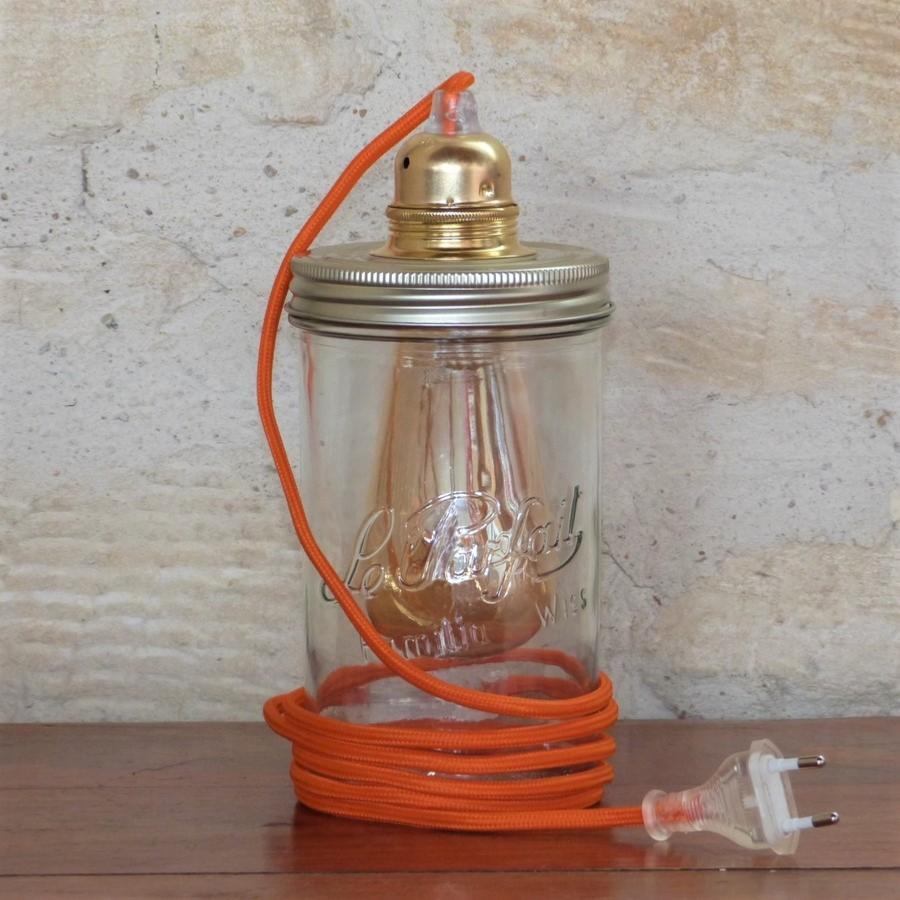 lampe bocal en verre le parfait cordon orange. Black Bedroom Furniture Sets. Home Design Ideas
