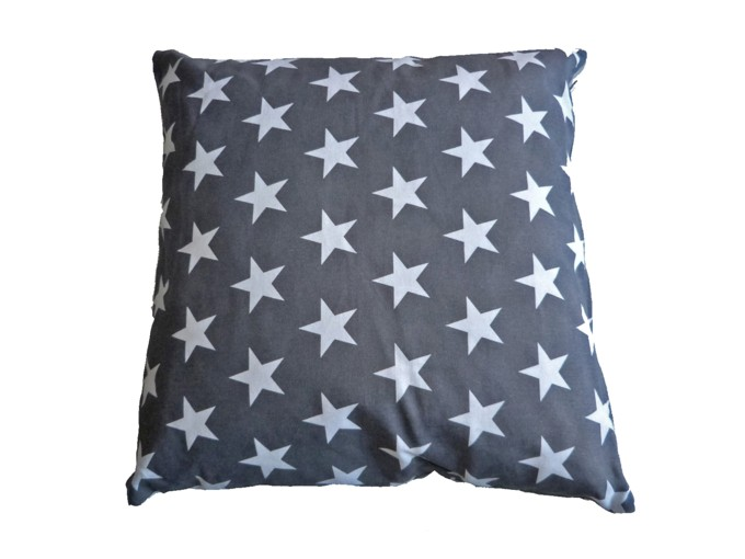 Coussin Anthracite Etoiles Blanches 50x50 cm