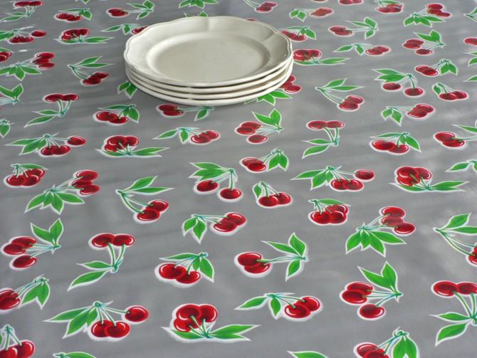 toile cire kitsch kitchen argent cerises - Toile Ciree Pour Table De Jardin
