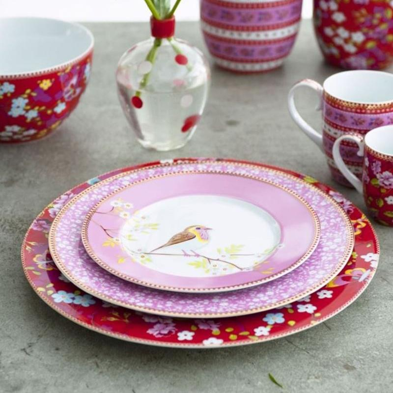 assiette dessert pip studio rose en porcelaine. Black Bedroom Furniture Sets. Home Design Ideas