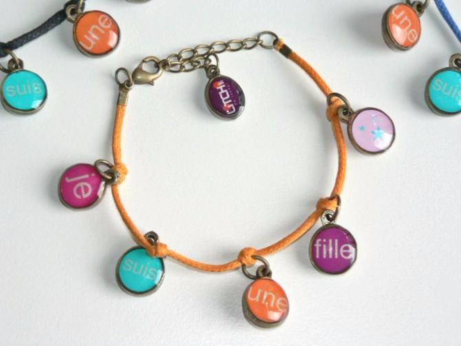 Bracelet Coton Fille Je Mens Orange Litchi