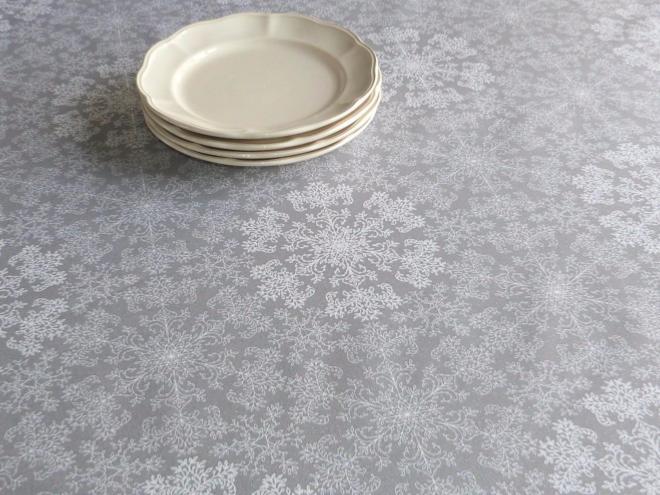toile enduite gris perle flocons stof. Black Bedroom Furniture Sets. Home Design Ideas