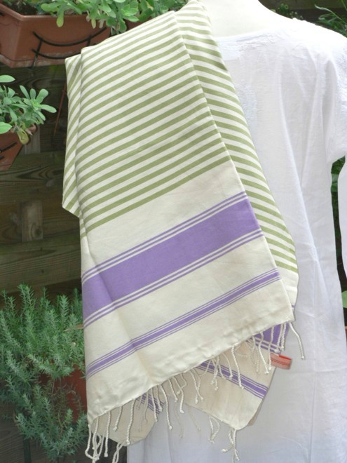 Fouta Rayée Bicolore Vert Olive/Lilas