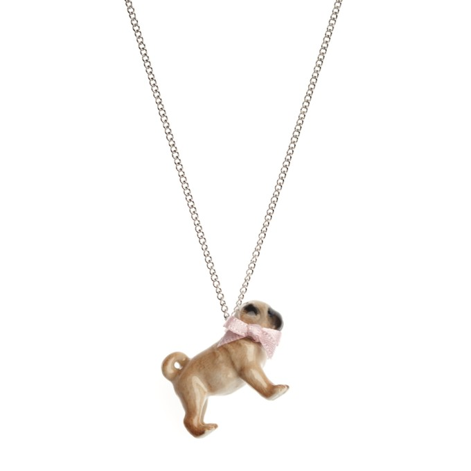 Collier Pug Pink Bow Porcelaine And Mary