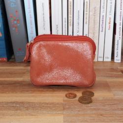 Porte Monnaie Double en Cuir Orange Crazy Lou