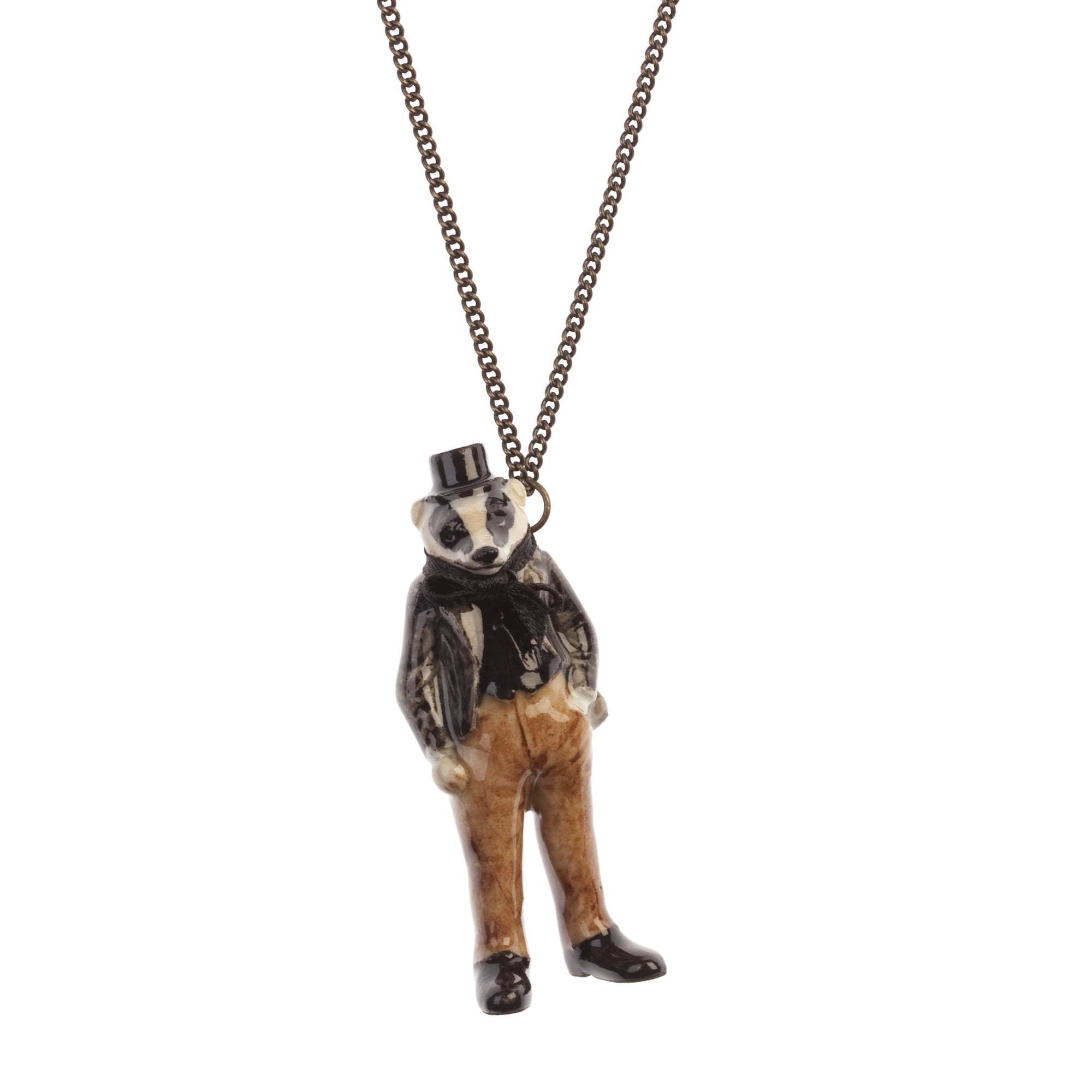 Collier Mr Badger Porcelaine