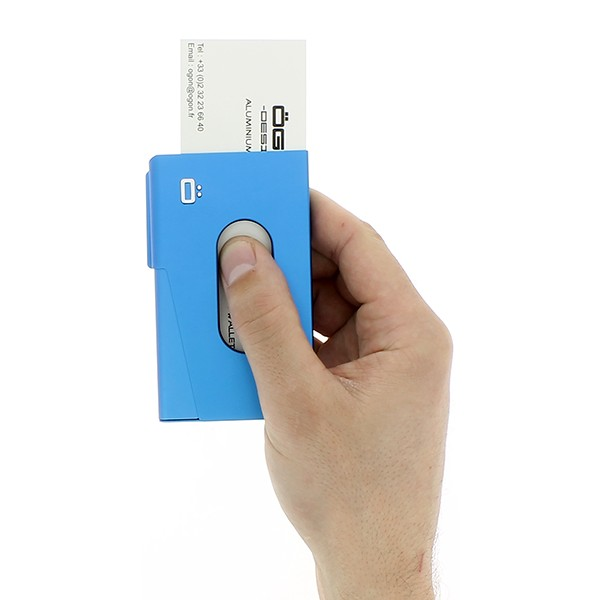 Porte Cartes De Visite One Touch Bleu Ogon