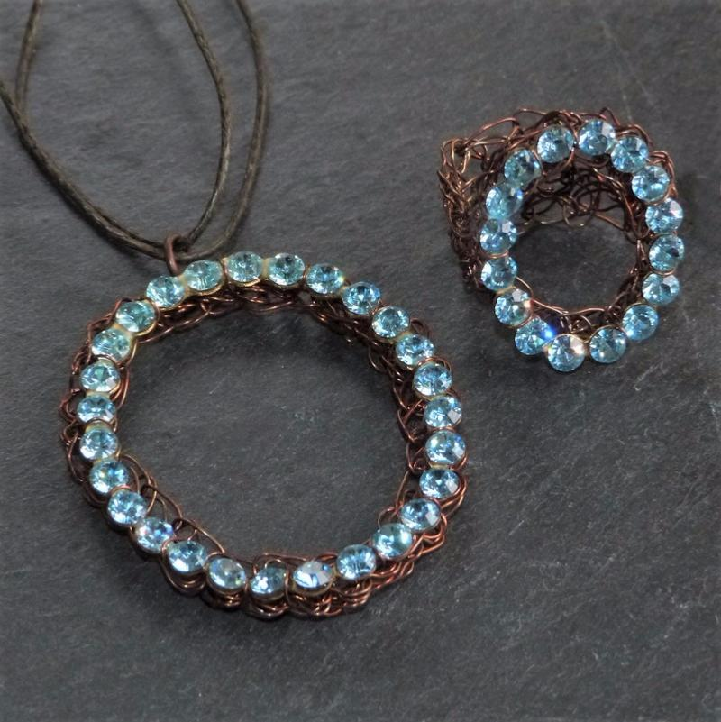 Collier et Bague Aliano Strass Circle Copper