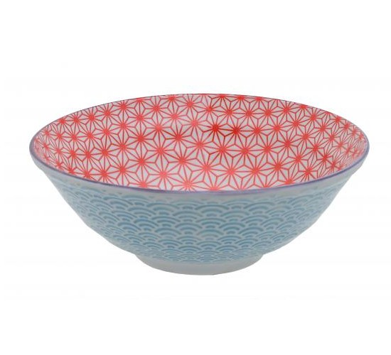 Bol Saladier Noodle Star Wave 21 cm Red Light Blue