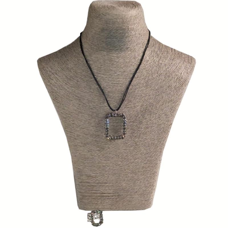 Collier et Bague Aliano Strass Square Silver