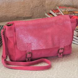Sac Bandoulière Cartable Mix Fuchsia Miss Lily