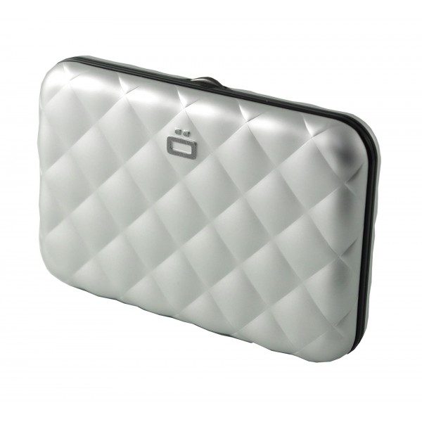 Porte Cartes Ögon Quilted Button Argent