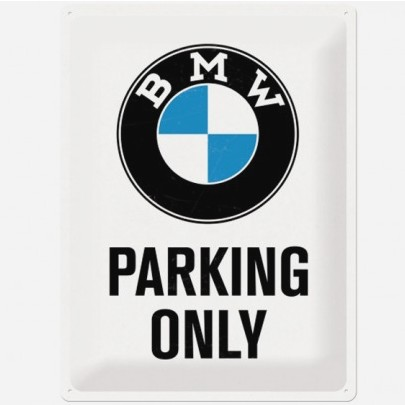 Plaque Métallique Déco BMW Parking Only 30x40 cm