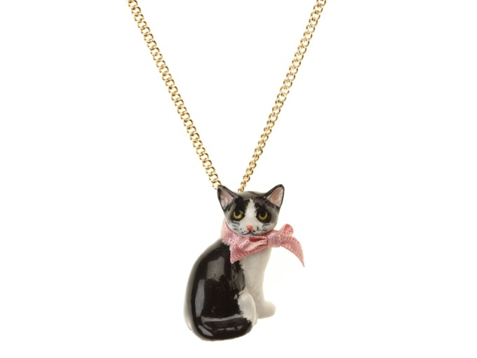 Collier Porcelaine Black&White Sitting Cat Chaine Dorée