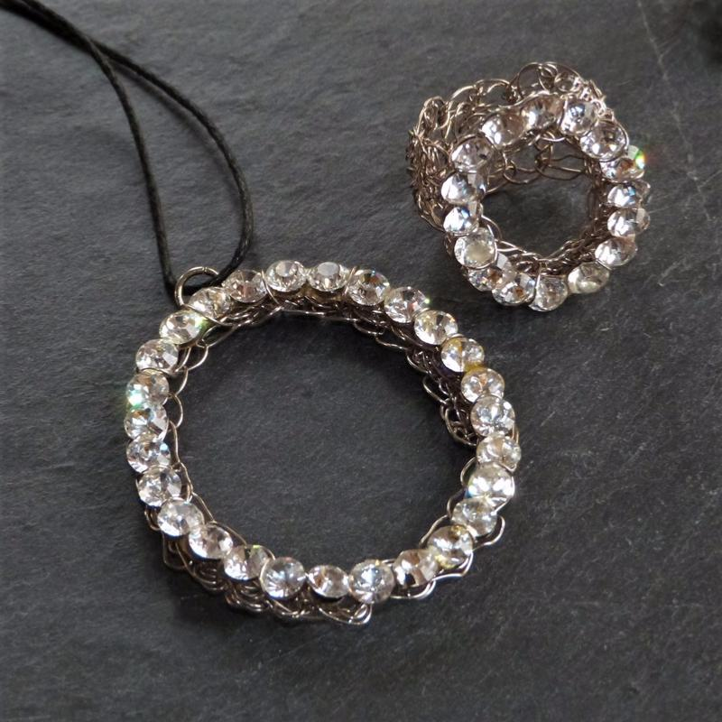 Collier et Bague Aliano Strass Circle Silver