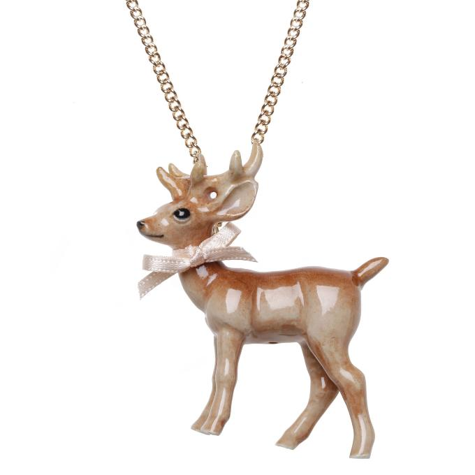 Collier Stag Porcelaine Chaine Laiton And Mary
