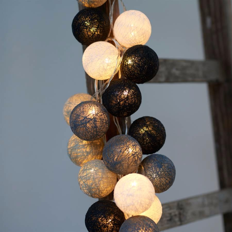guirlande lumineuse led 20 boules charcoal. Black Bedroom Furniture Sets. Home Design Ideas