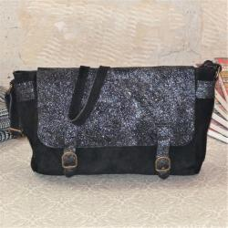 Sac Bandoulière Cartable Mix Noir Miss Lily