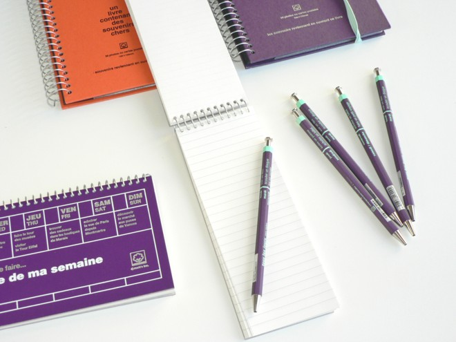 Carnet de Notes Prune + Stylo Bille