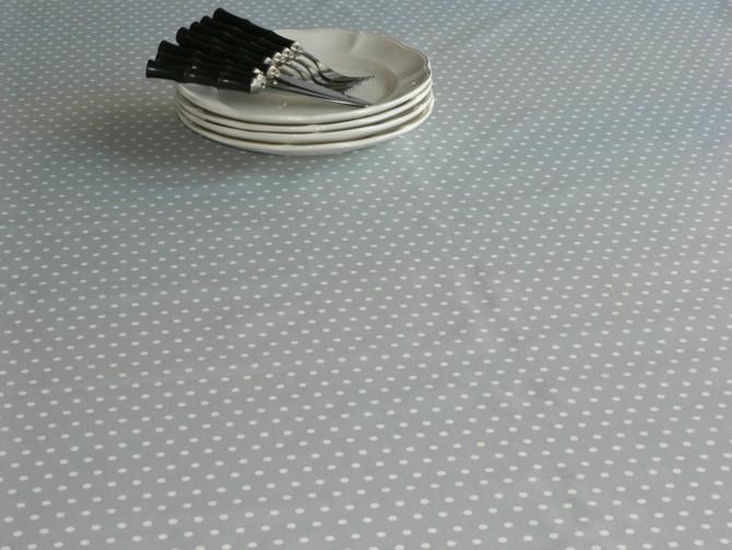 toile enduite pois gris stof au m tre. Black Bedroom Furniture Sets. Home Design Ideas