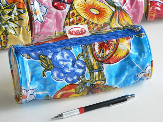Trousse à Stylo Bleu/Fruits