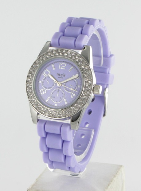 Montre Femme Silicone/Strass Lilas